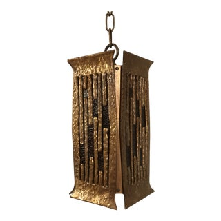 Brutalist Brass Pendant by Moe Bridges For Sale