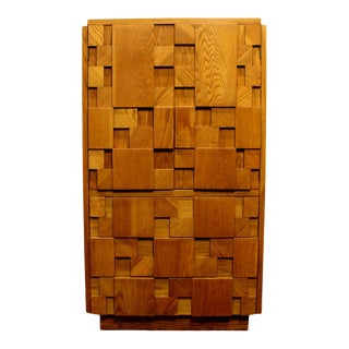 1970s Mid-Century Modern Brutalist Mosaic Patchwork High Chest by Lane in Oak For Sale
