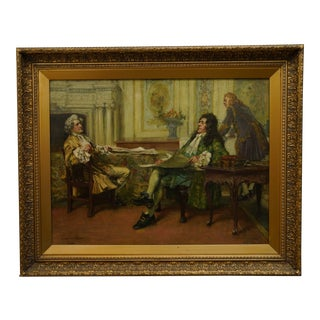 "1918 English Oil on Canvas Signed and Dated by Arthur David McCormick Titled ""The Negotiation"" For Sale"