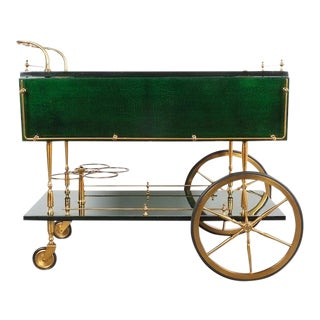 Aldo Tura Adjustable Green Parchment Bar Cart, 1960 For Sale