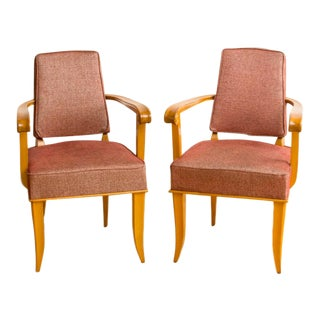 1940s Vintage French Sycamore Armchairs - a Pair For Sale