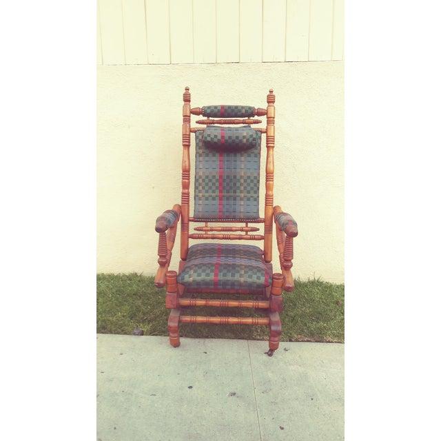Antique Eastlake Victorian Turned Walnut Blue Platform Rocking Chair For Sale In Los Angeles - Image 6 of 6