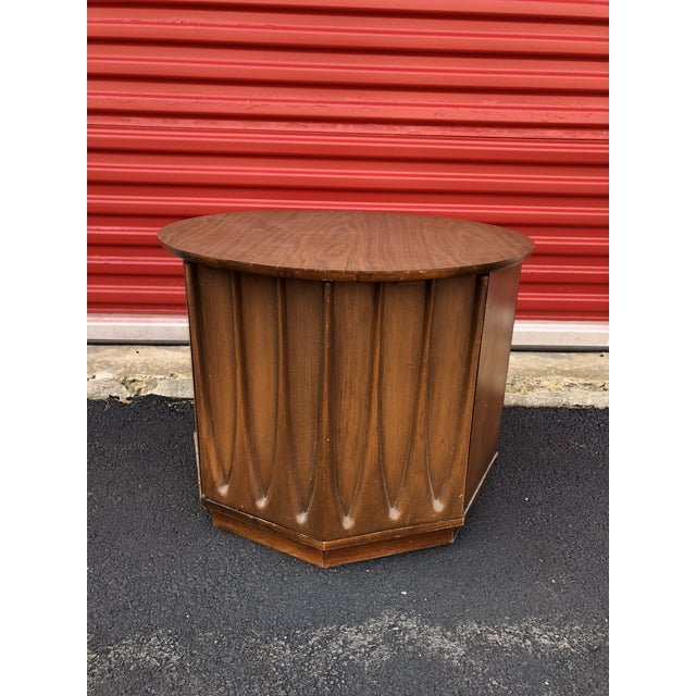 1960s Mid Century Modern Round End Table With Storage Cabinet For Sale - Image 10 of 10