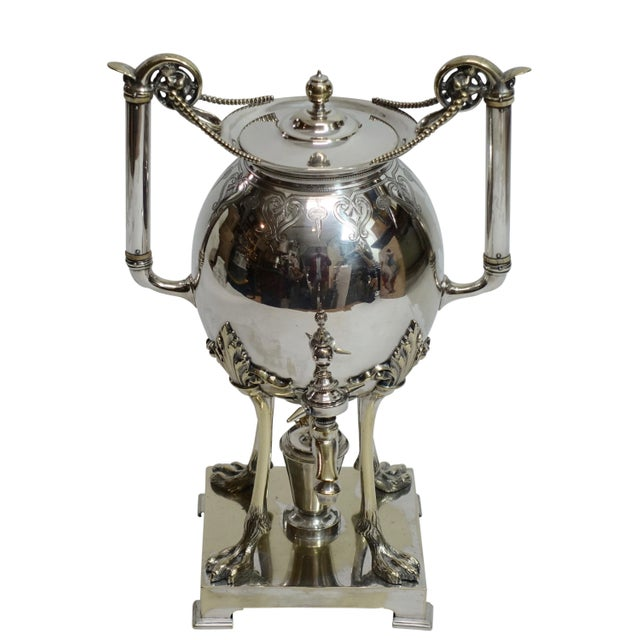 Silver Plated Aesthetic Movement Hot Water Urn Samovar 19th Century For Sale - Image 9 of 9