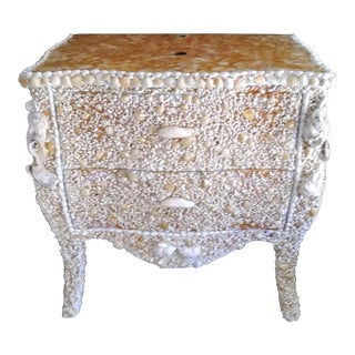 Custom Made One of a Kind Bathroom Vanity Sink Bombay Cabinet Covered in Seashells For Sale