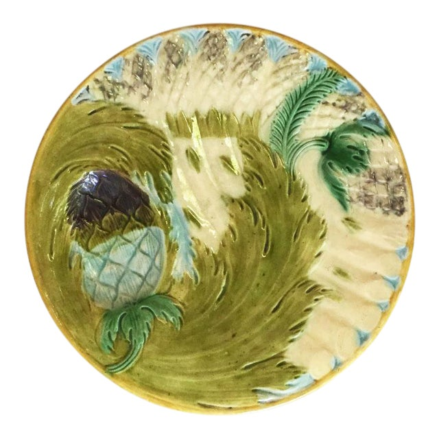 1880s Majolica Asparagus Plate Attributed to Saint Amand For Sale