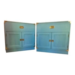 1960s Campaign Drexel Hill Robin's Egg Blue Nightstands - a Pair For Sale