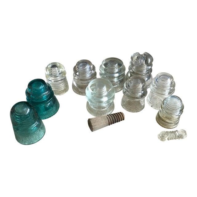 Aqua & Clear Glass Telephone Insulator - 12 Pieces - Image 1 of 11