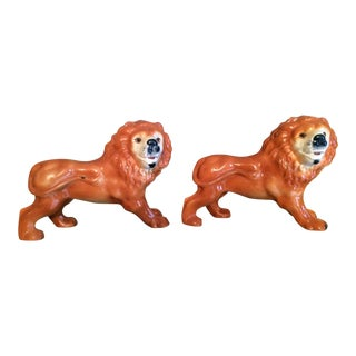 Antique Staffordshire Standing Lions - A Pair