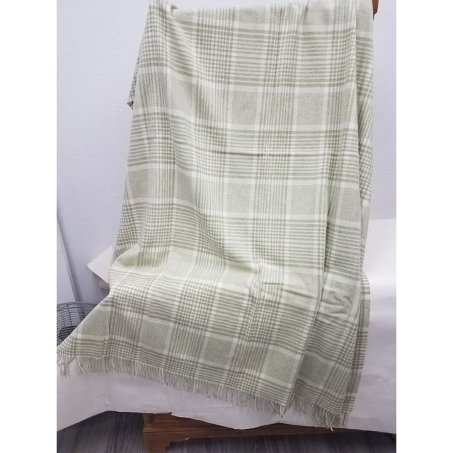 Merino Wool Throw Green Squares - Made in England For Sale - Image 4 of 9