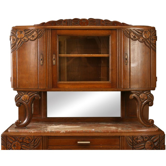 1920 French Art Deco Carved Oak Buffet - Image 2 of 8