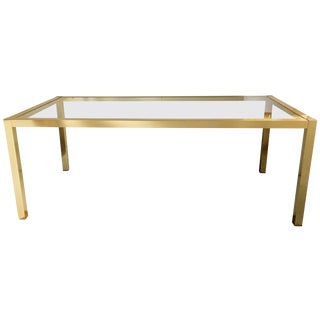 Milo Baughman Style Brass and Glass Dining Table For Sale