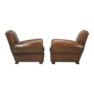 """Pair of French """"Moustache"""" Style Leather Club Chairs, Correctly Restored For Sale"""