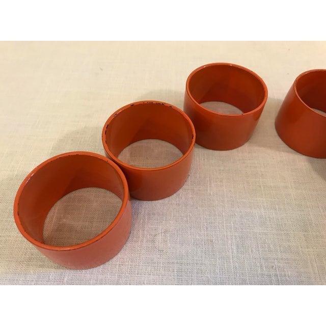 Mid-Century Modern Orange Napkin Rings - Set of 6 For Sale In Dallas - Image 6 of 9
