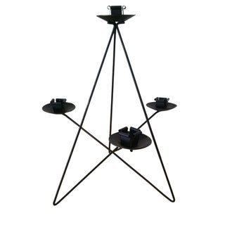 Mid-Century Geometric Black Metal Candle Holder