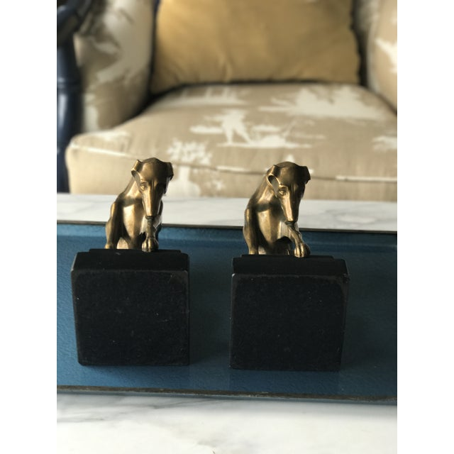 Brass Vintage Art Deco Greyhound Bookends - A Pair For Sale - Image 7 of 11