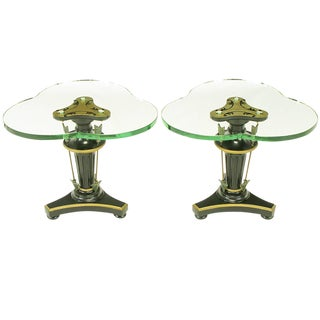 Pair of Black Lacquer & Parcel Gilt Empire Side Tables With Arrow Details For Sale