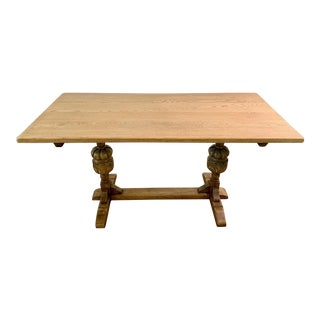 20th Century Boho Chic Carved Oak Entry/Dining Table For Sale