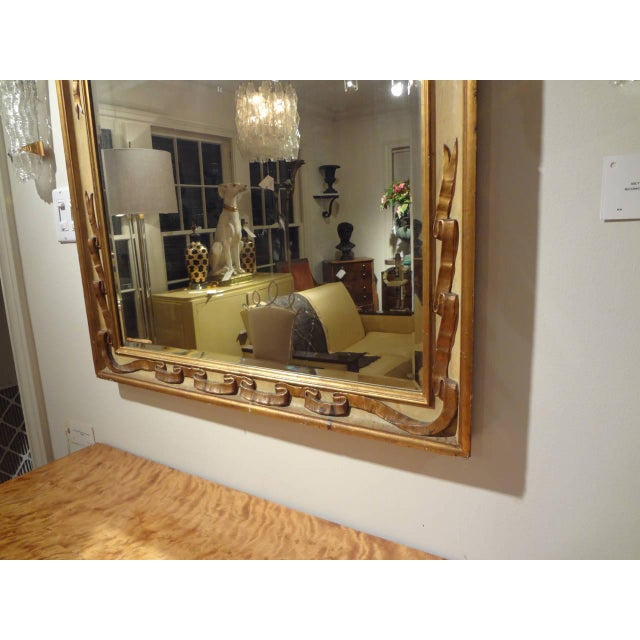 Italian Rectangular Painted and Gilt Wood Beveled Mirror For Sale In Houston - Image 6 of 9