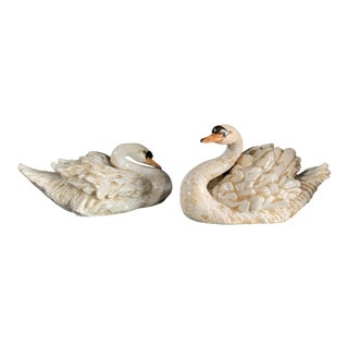 Vintage Ceramic Decorative Swan Figurines - a Pair For Sale