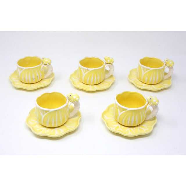 Vintage Hand-Painted Yellow and White Flower and Frog Espresso Cups and Saucers - Set of 12 For Sale - Image 4 of 13