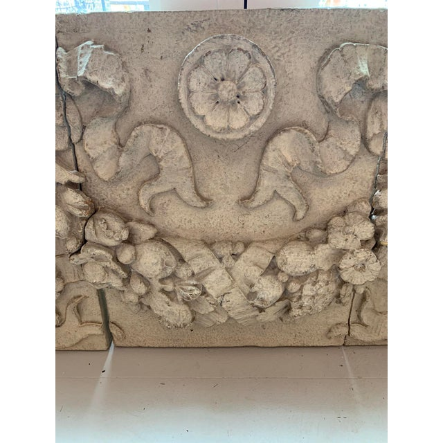 1990s 1990s Architectural Faux Limestone Frieze With Fruit and Garland Motif - Set of 3 For Sale - Image 5 of 11