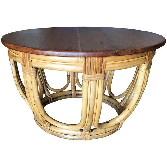 Mid-Century Modern Restored Round Rust Rattan Coffee Table With Mahogany Top and Fancy Wrappings For Sale - Image 3 of 3