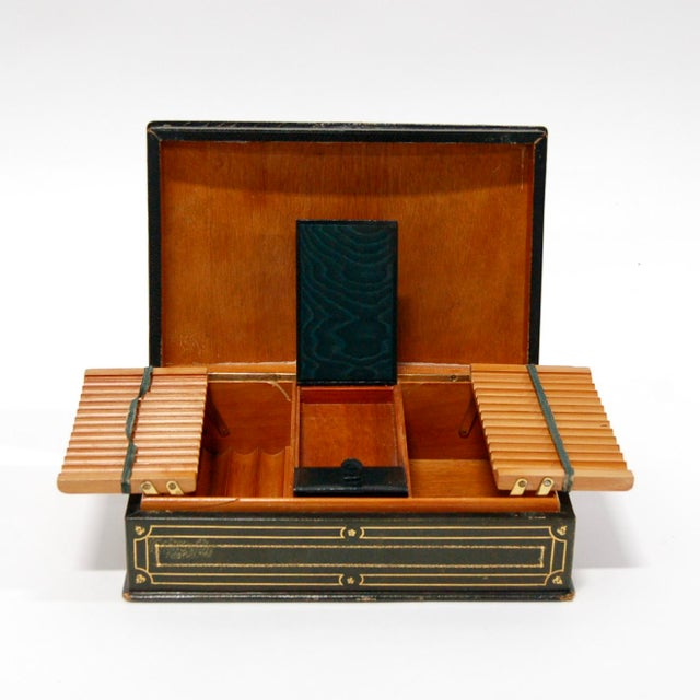 1930's Green Leather Cigarette & Cigar Humidor Tobacco Box - Image 5 of 8
