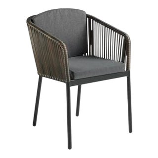 Rattan Armchair With Upholstered Seat For Sale