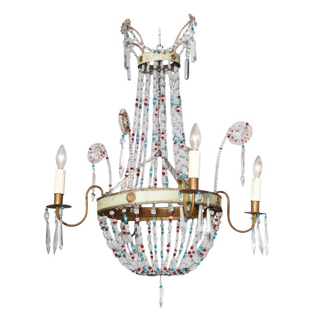 Multi-Colored Glass Beaded Italian Chandelier For Sale