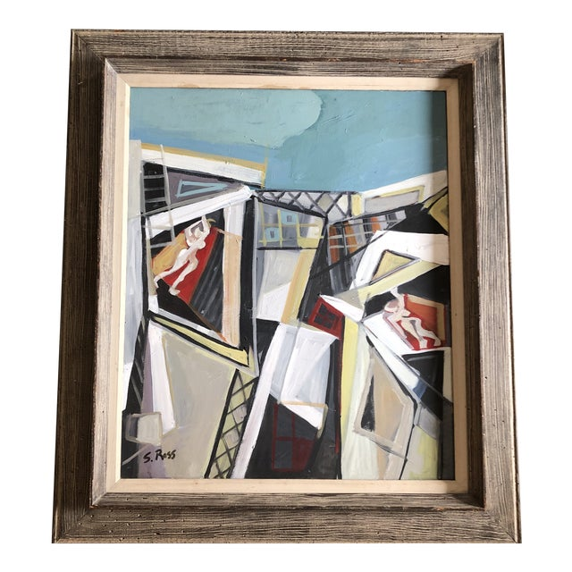 Original Contemporary Stewart Ross Modernist Roof Top Abstract Large Painting Vintage Modernist Frame For Sale