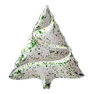 Vintage Speckled Ceramic Christmas Tree Platter or Dish