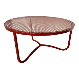 Jean Royere Tripod Red Lacquered Perforated Iron Coffee Table For Sale