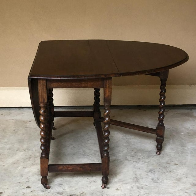 Brown Antique Barley Twist Gateleg Drop Leaf Table For Sale - Image 8 of 13