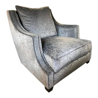 Modern Gray Bernhardt Upholstered Side Accent Chair