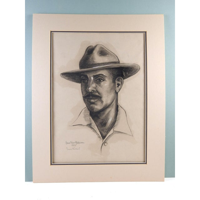 Portrait of Simon Michael, the noted Rockport, Texas artist, by Anna Claire Henderson. Signed, titled, and dated 1955 in...