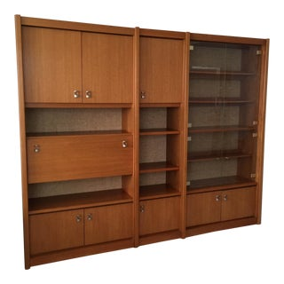 Mid-Century Swedish Teak Wall Cabinet - 3 Piece For Sale