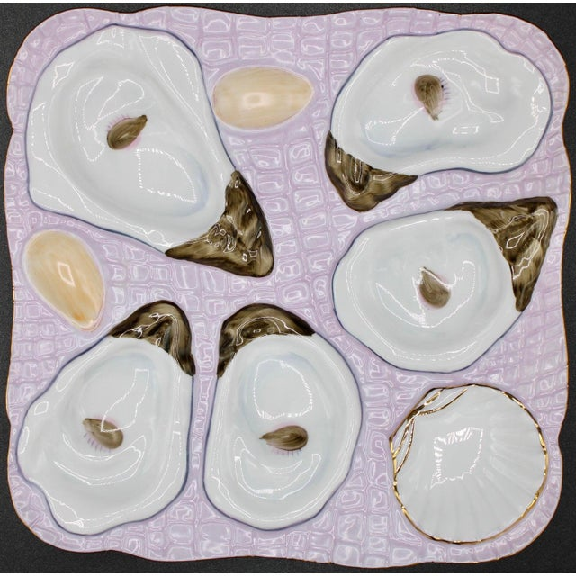 1960s Lavender Blush Oyster Plate For Sale - Image 9 of 10
