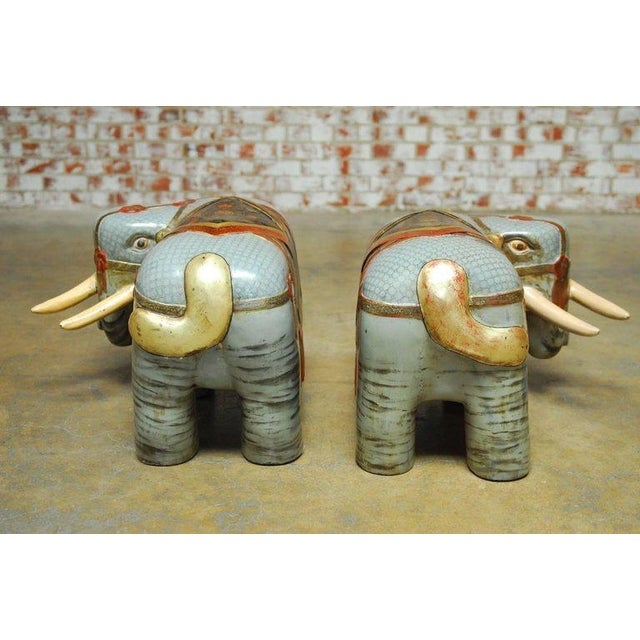 Chinese Carved Polychrome Elephant Stools - A Pair - Image 9 of 10
