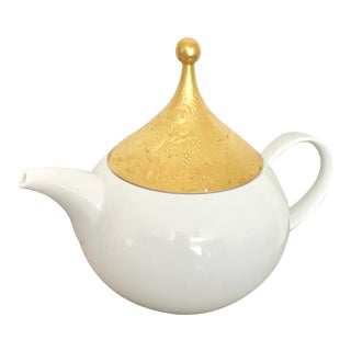Rosenthal the Magic Flute Heavy Gilt Round Porcelain Teapot For Sale