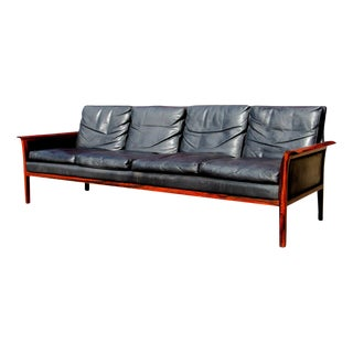 Knut Sæter Rosewood and Leather Sofa For Sale