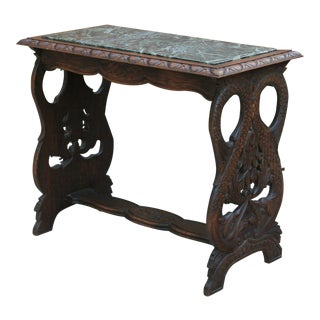 Antique French Oak Bench Coffee Table Window Seat Marble Top For Sale