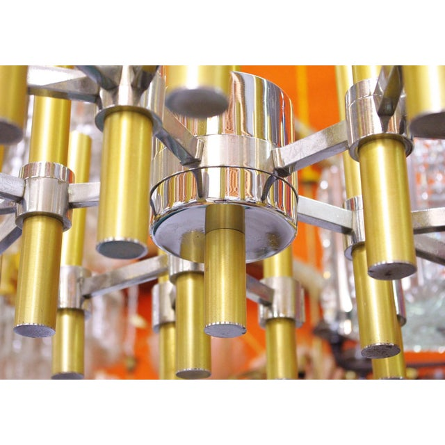 Italian Brass and Chrome Tubes Chandelier by Sciolari For Sale - Image 3 of 7
