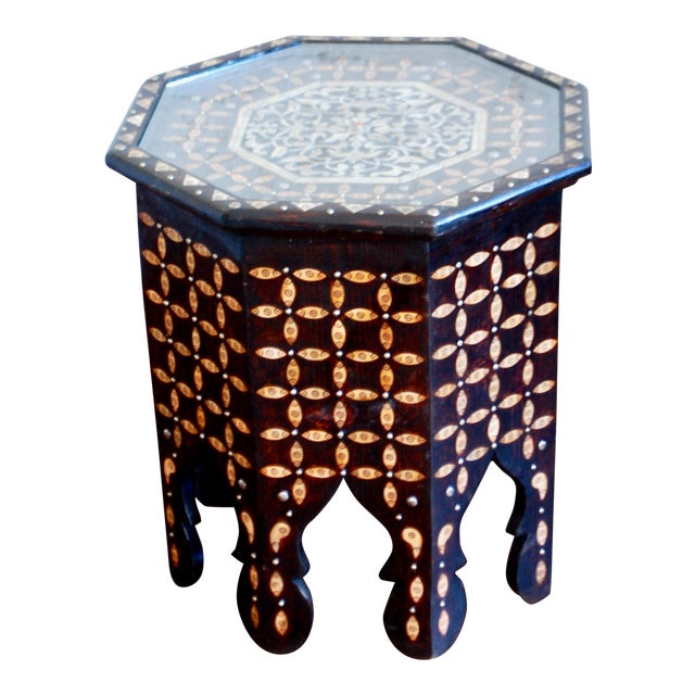 Moroccan Bone Inlaid Side Table For Sale