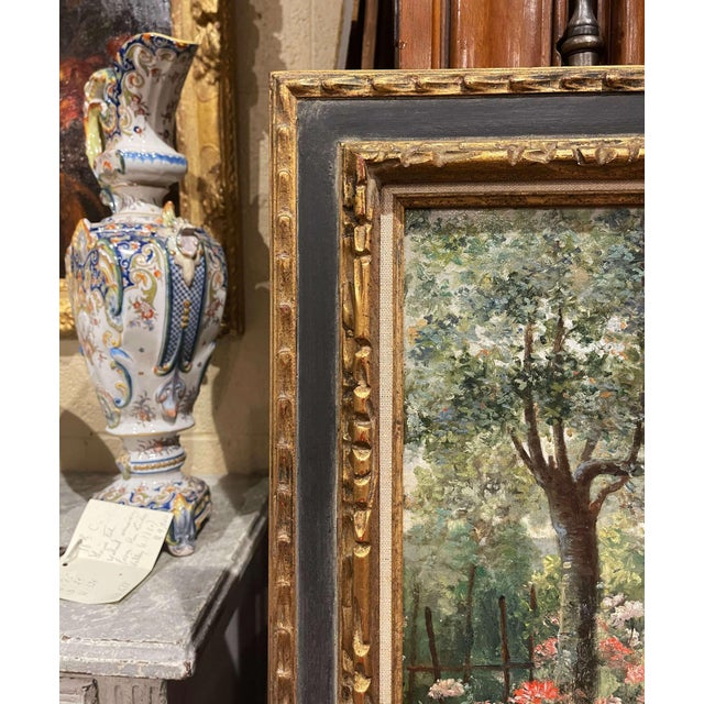 Green 19th Century French Oil on Canvas Painting in Carved Frame Signed Haag For Sale - Image 8 of 13