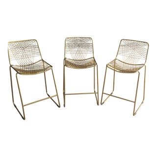 "Modern ""Gold Wire"" Barstools- Set of 3 For Sale"