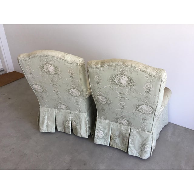 English Vintage Rolled Arm Upholstered Chairs - a Pair For Sale - Image 3 of 9