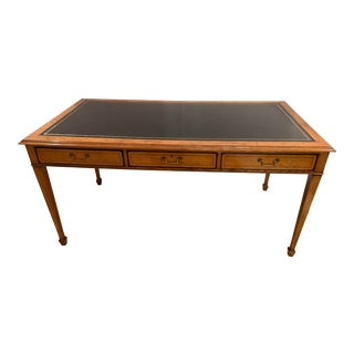 Vintage Mahogany Writing Desk With Black Leather Top For Sale