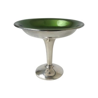 Wallace Silverlate Green Enameled Bon-Bon Dish For Sale