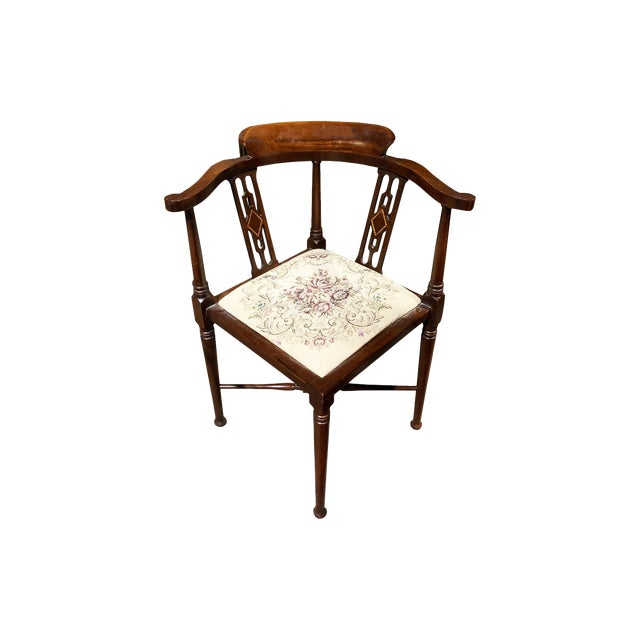 1900s Vintage Brandt Wood Inlay Accent Chair For Sale
